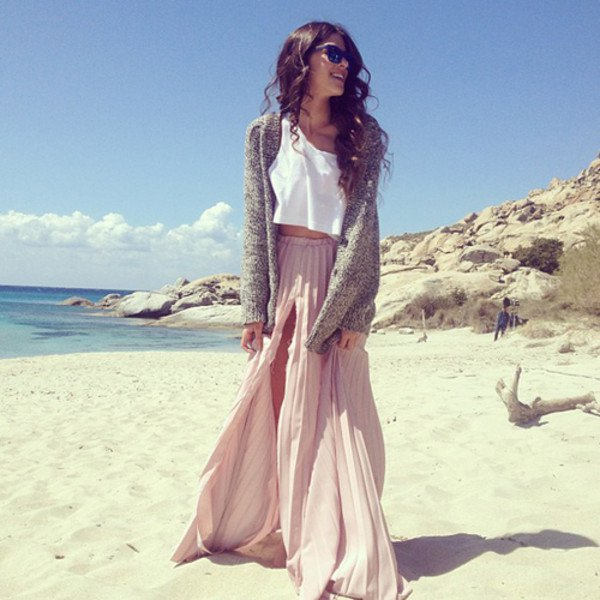 Light gray pleated double slit maxi dress with white crop top and cardigan