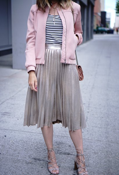 Light gray pleated skirt and matching bomber jacket