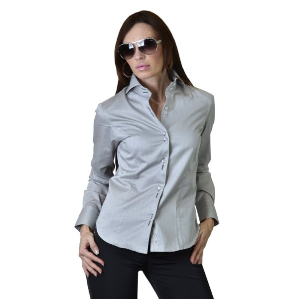 light gray formal silk shirt with black skinny jeans