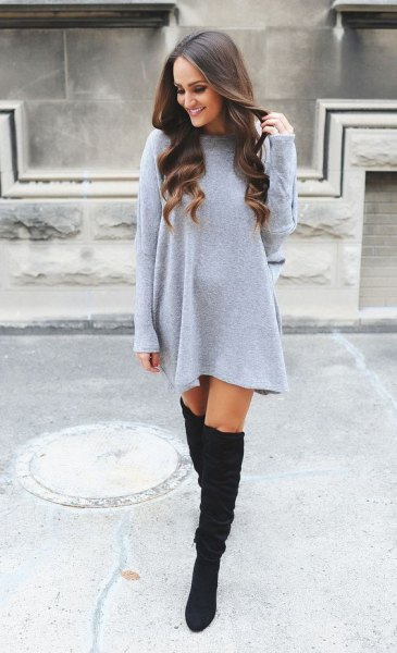Light gray, straight cut mini sweater dress with over the knee boots