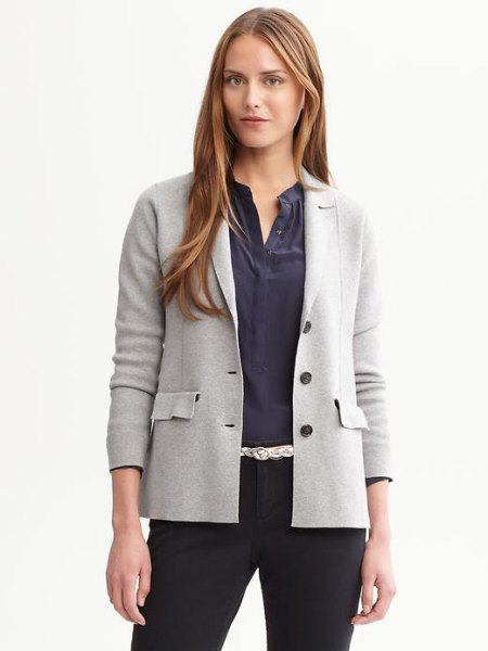 light gray pullover blazer with dark blue shirt without a collar