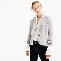 light gray pullover blazer with white shirt and black skinny jeans