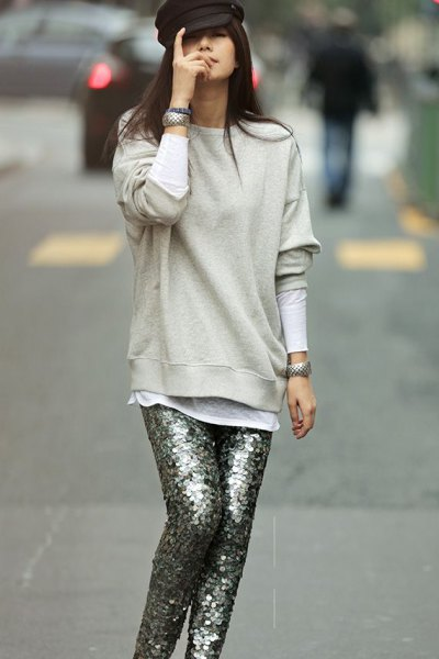 light gray sweatshirt with silver sequin pants
