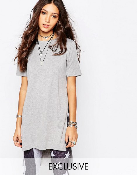 Light gray tunic t-shirt with leggings with American flag