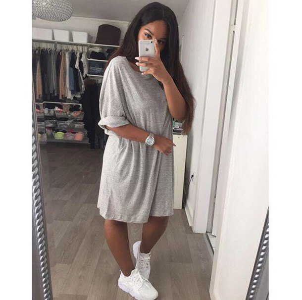 brightly mottled oversized t-shirt dress with white sneakers