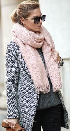 Light pink fringed scarf with black and white tweed blazer and leather gaiters
