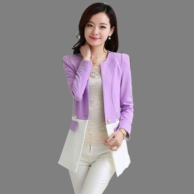 light purple and white block jacket with narrow pants
