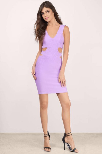 Light purple, figure-hugging mini dress with cutouts