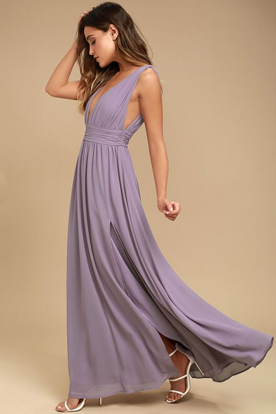 light purple deep floor-length pleated dress with V-neckline