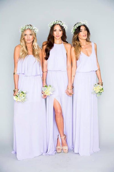 light purple bridesmaid dress with a ruched waist