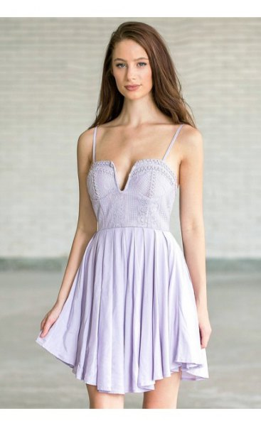 light purple spaghetti strap deep V-neck mini pillow dress