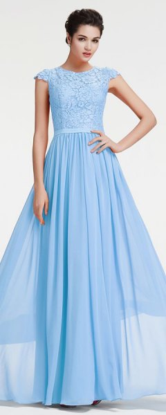 Light sky-blue cap sleeve fit and floor-length ball gown
