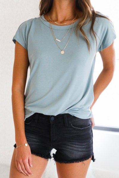Light blue t-shirt with mini shorts washed in black