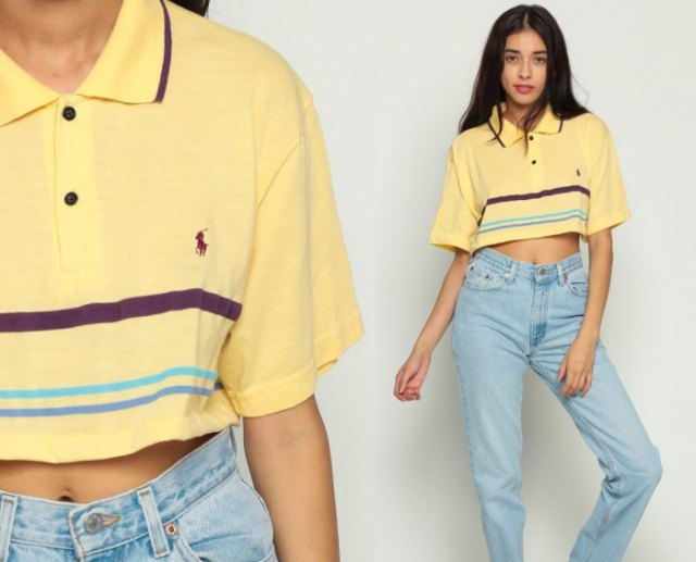 Light yellow short polo shirt with mom jeans