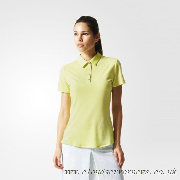 Light yellow polo shirt with a white knee-length, straight skirt