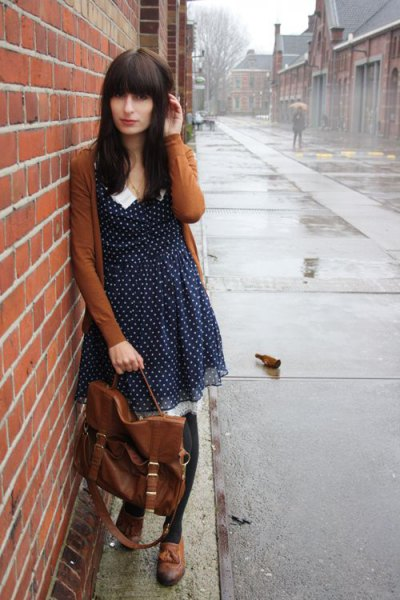 lime green cardigan with black and white chiffon swing dress with polka dots