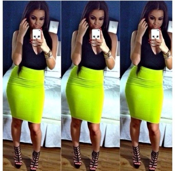 Find Out Where To Get The Dress | Neon skirt, Neon green pencil .