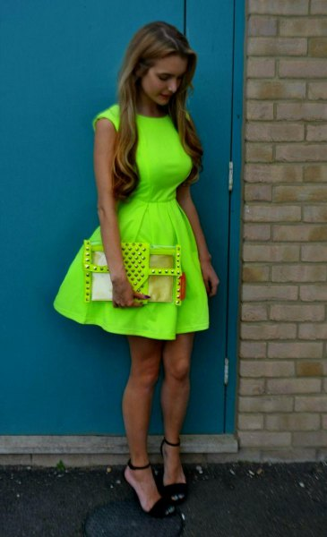 Lime green mini dress with fit and flare with black, open toe heels
