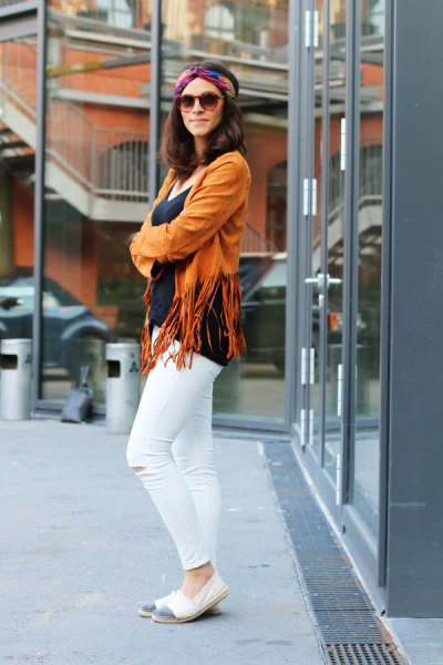 lime green fringed jacket and white skinny jeans