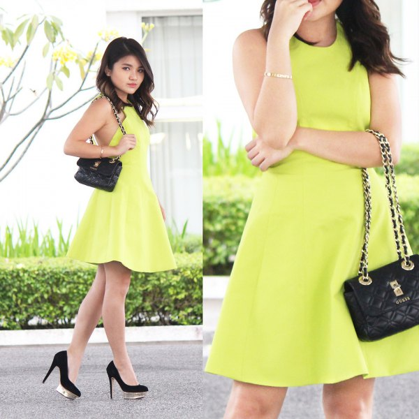 Lime green skater mini cocktail dress with black suede heels