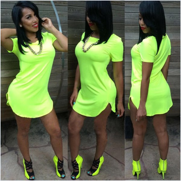 Lime green t-shirt dress with matching heeled boots