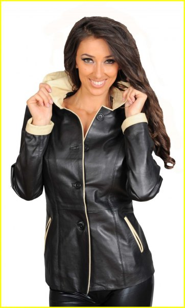 long biker jacket with a blushing pink collar and hood