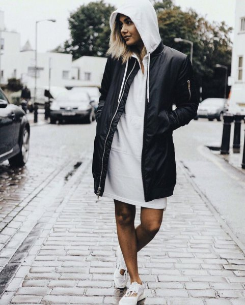 long black bomber jacket hoodie dress