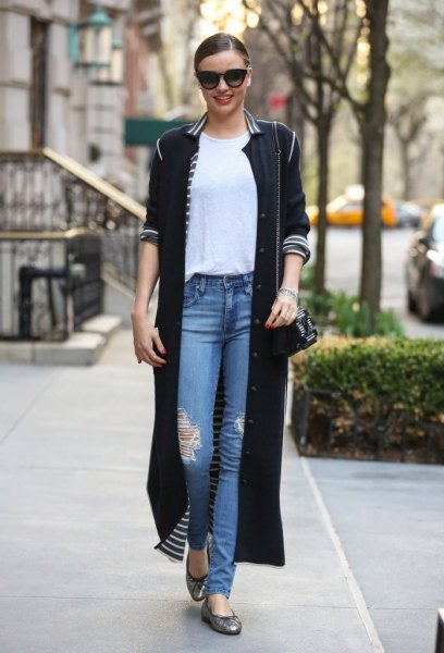 long black cardigan with white striped collar