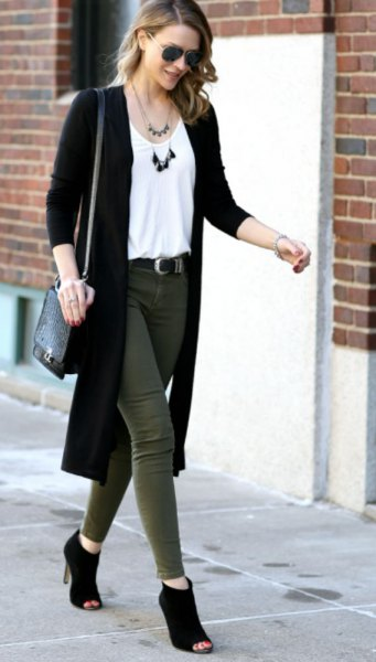 long black cardigan white vest top green skinny jeans