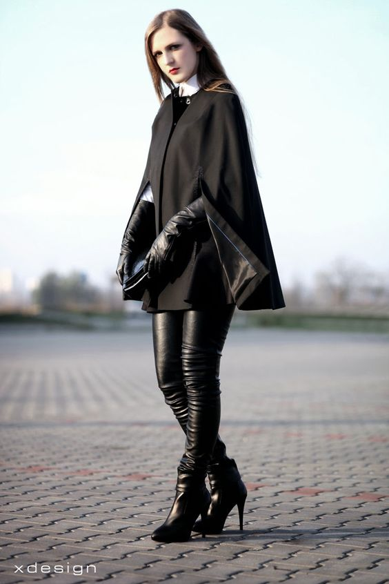 long black gloves leather pants