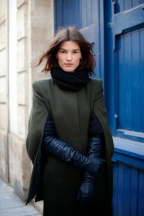 long black gloves olive green cloak