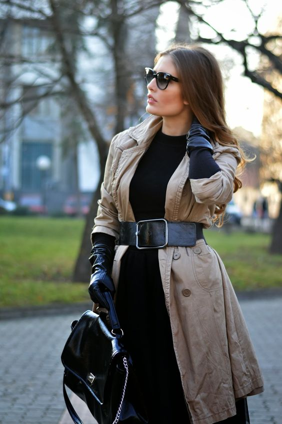 long trench coat with black gloves