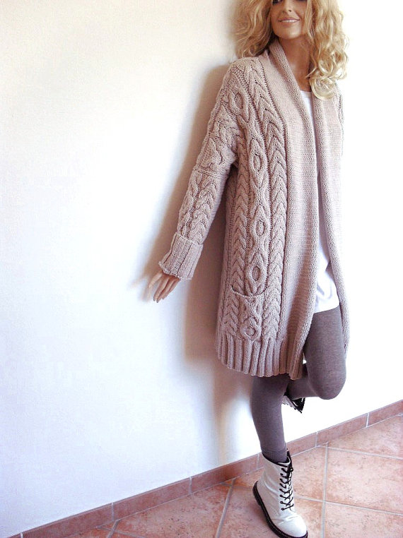 long knitted sweater coat