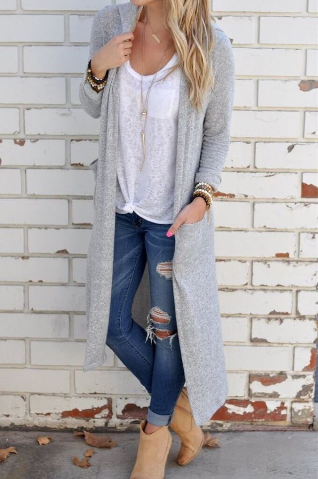 long cardigan boots ripped skinny jeans with cuffs