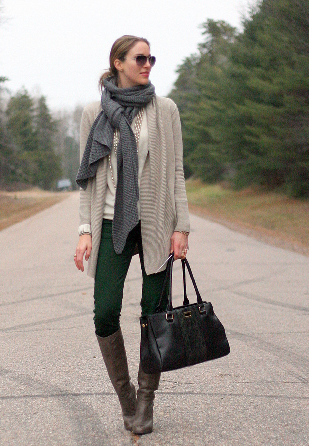long cardigan sweater shawl knee boots