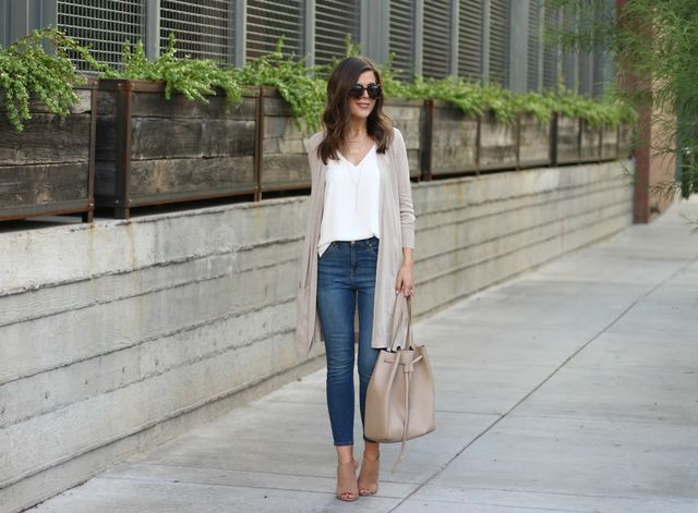 long skinny jeans with cardigan