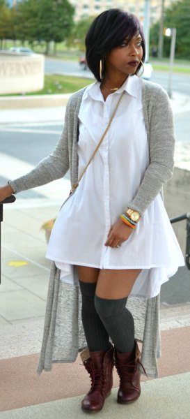 long shirt dress with white collar and cardigan