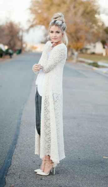 long white top outfit of the cardigan