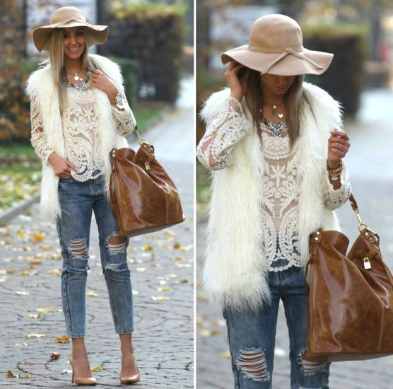 Daily street style ideas   Vest outfits, Fur vest outfits, White .