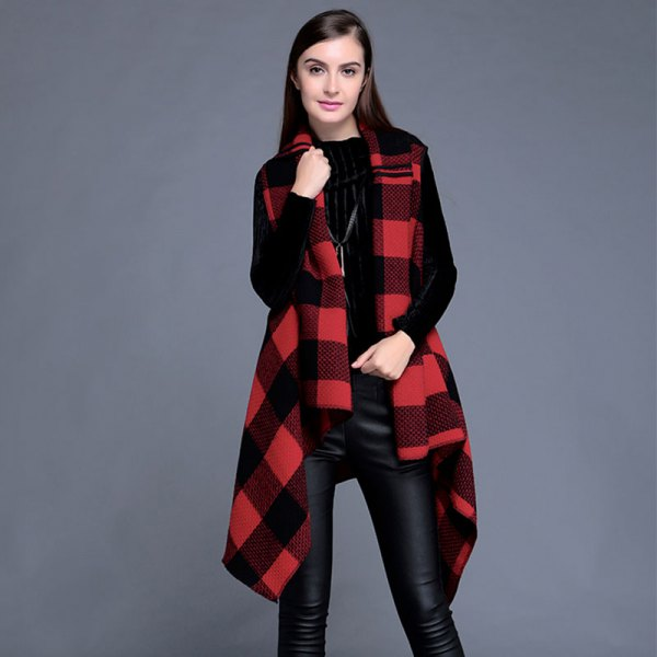 long red and black plaid vest made of flannel with black leather pants