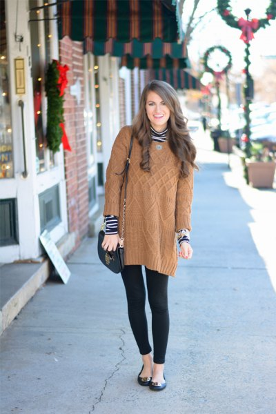 long light brown knitted sweater with black and white striped top