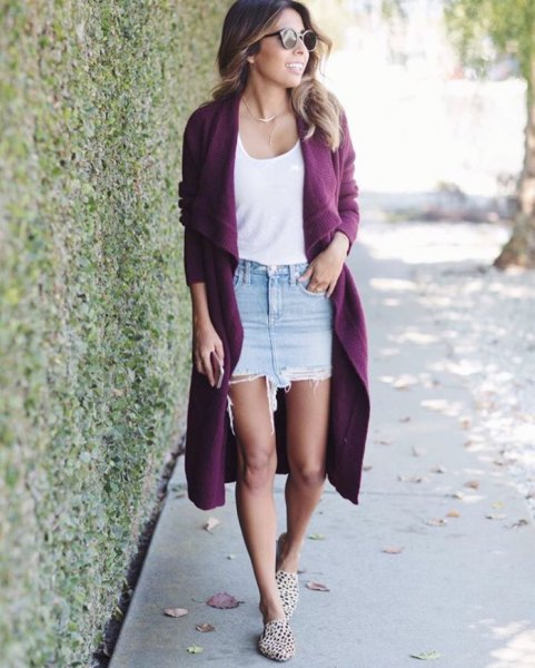 long purple cardigan with white vest top with scoop neckline and denim skirt