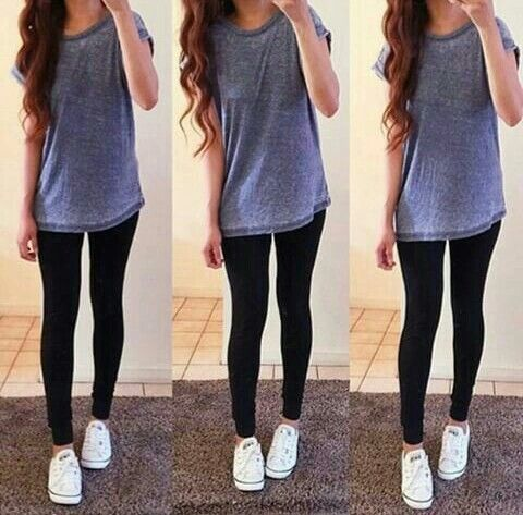 Long T-shirt with leggings and converse. Casual outfit. Everyday .