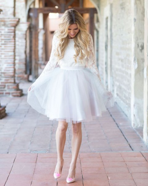 long-sleeved lace dress with belt and chiffon tulle