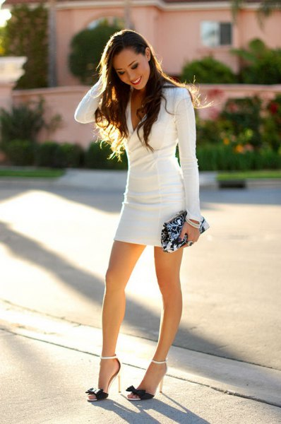 long-sleeved, figure-hugging mini dress
