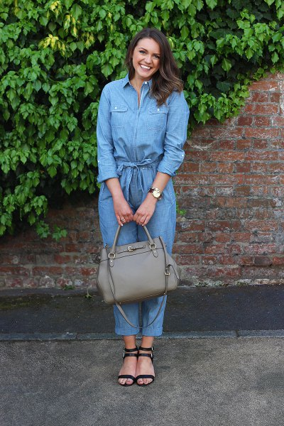 Long-sleeved chambray overall strappy sandals with straps