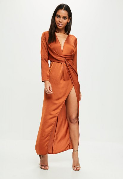 long-sleeved deep wrap dress with deep V-neckline