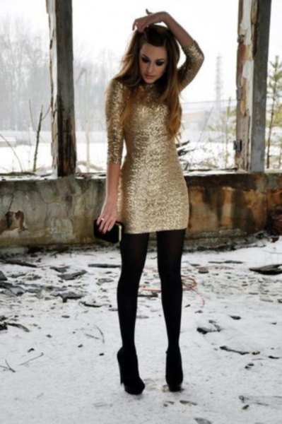 long-sleeved gold dress stockings black heels