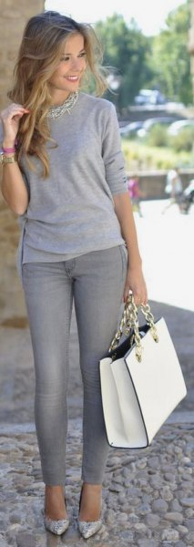 gray t-shirt necklace with long sleeves