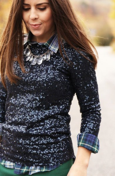 long sleeved top with sequins and gray and blue checked shirt
